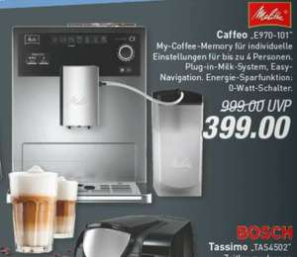 [Lokal: Frechen]? im Marktkauf - Melitta Caffeo E970-101, Kaffeevollautomat mit Milchbehälter
