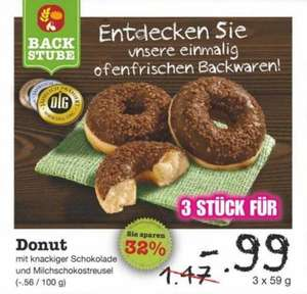 [Netto MD] Backstube Schoko Donuts 3 Stück für 0,99€