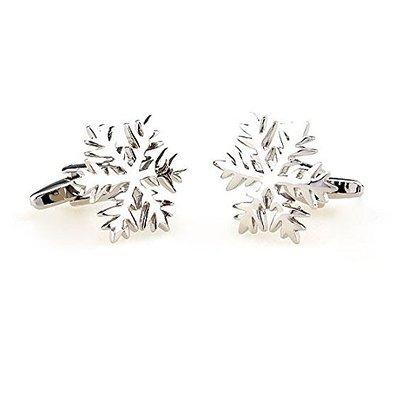 GILIND Silber Schneeflocken Manschettenknöpfe für Weihnachten in Geschenkkarton