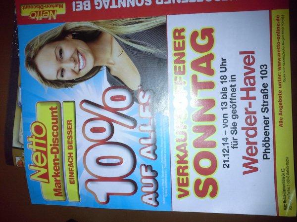10% auf alles Netto Werder/Havel Verkaufsoffener Sonntag 21.12.14