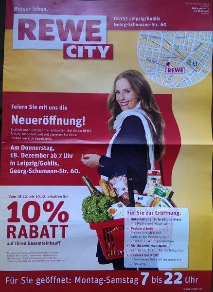 [LOKAL Leipzig/Gohlis] REWE City Neueröffnung - 10% auf den Gesamteinkauf! Nur am 18./19.12.2014