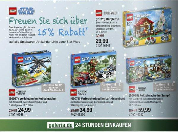 Vom 16. - 19. 12 bei Galeria 15 % auf Lego Star Wars