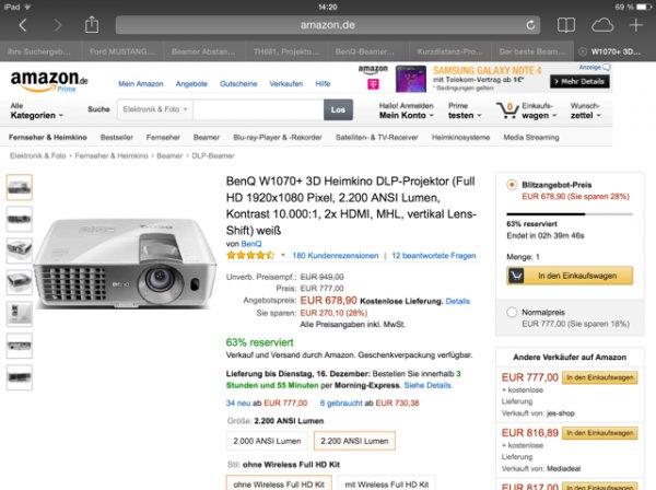 Beamer benq w1070+ Achtung nur noch 2 Stunden für 678,90€ Amazon