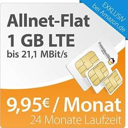 DeutschlandSIM LTE S: Allnet-Flat, Internet Flat 1GB (LTE), 24 Monate 9,95 Euro mtl. -> Amazon Blitzdeals