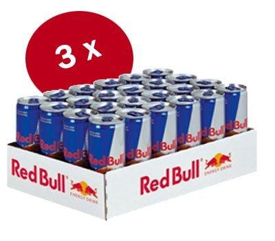 Red Bull Angebot 72 Dosen 89,90 EUR + 26,70 EUR geschenkt  (0,94 EUR je Dose inkl. Versand)