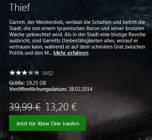 [XBOX Store Download] Thief für 13,20€ für Goldmitglieder [XBOX One]