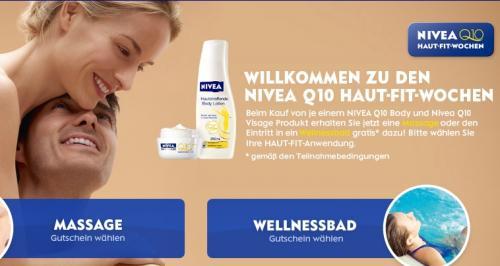 2 Nivea Q10-Produkte kaufen - Massage Gutschein oder Wellnessbad-Eintritt geschenkt.