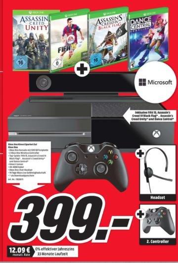 (Lokal MMarkt Pforzheim) Xbox One + Kinect + 2. Controller + Headset + Fifa 15 + AC Unity + AC Black Flag + Dance Central