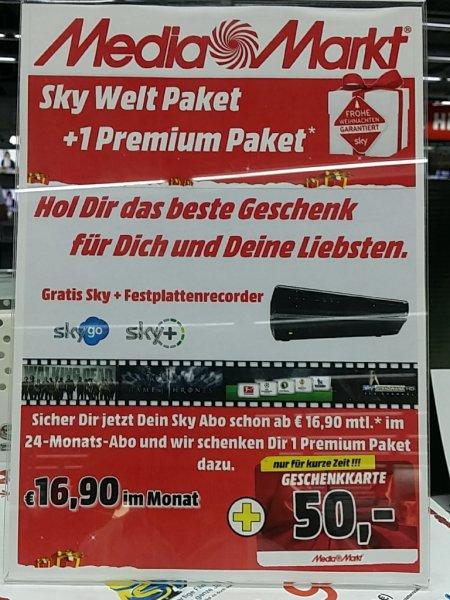 SKY plus 1 Paket für 16.90 +50 Euro Media Markt Gutschein (Lokal?) mm bischofsheim