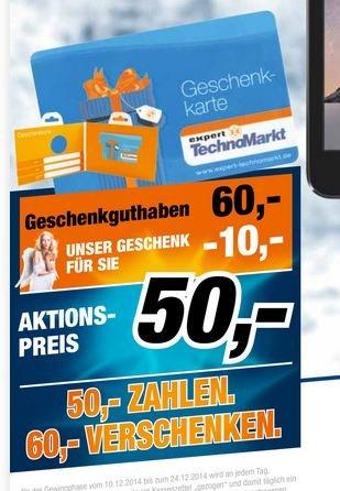 expert 50€+10€ Geschenkkarte für 50€ kaufen   10€ kostenlos dazu bekommen [lokal? Augsburg]
