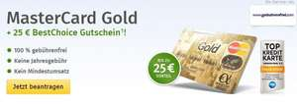 Über Web.de Vorteilswelt  Kostenlose Mastercard Gold Gebuhrenfrei.com + 25 Euro Best Choice Gutschein