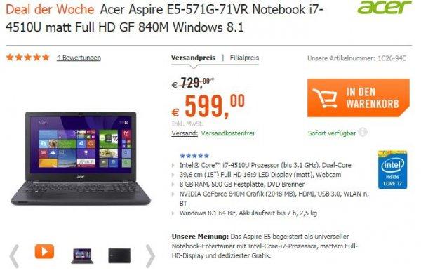 Acer Aspire E5-571G-71VR Notebook i7-4510U matt Full HD GF 840M Windows 8.1 8GB RAM, cyberport