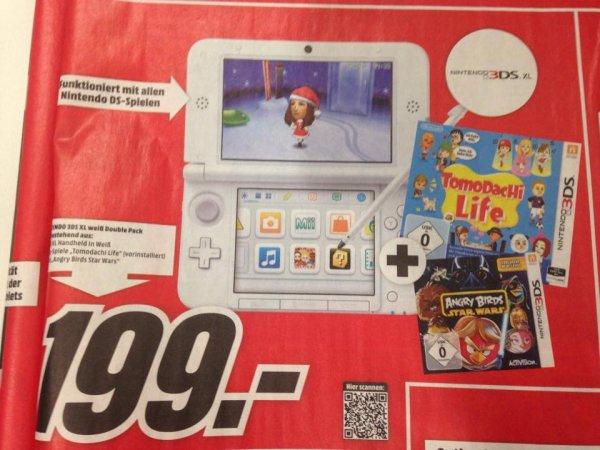Nintendo 3DS XL weiß double Pack, Tomodachi Life + Angry Birds Star Wars, 199 € @mediamarkt