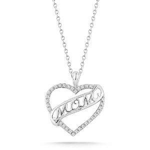 """Sterling Silver """"MOM"""" Diamond Heart Anhänger"""