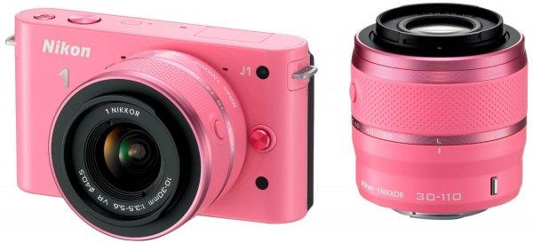 Nikon 1 J1 Systemkamera inkl. VR 10-30 mm und VR 30-110 mm Objektive pink, nächster Preis über 400€