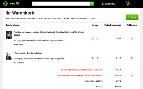 2 Zavvi-Bluray-Steelbooks für zusammen 12 € oder 20% auf alle vorrätigen Steelbooks oder 2 Blurays für 15 €