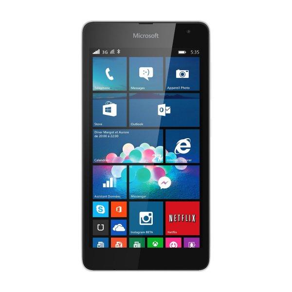 """Microsoft™ - Smartphone """"Lumia 535 Weiß"""" (5.0"""" 960x540,1GB/8GB+microSDXC,5.0MP AF/LED Cam,Dual-SIM,Windows Phone 8.1) für €103,98 [@Amazon.fr]"""