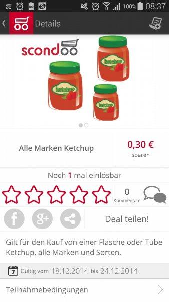 [SCONDOO] 30 Cent cashback auf Ketchup egal welche Marke  oder Sorte