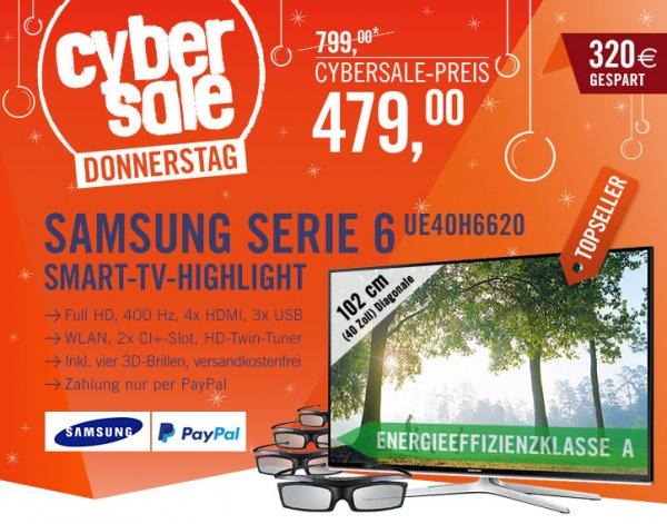 "Samsung Serie 6 Fernseher 40"" 3D-fähig, Cyberport, 479€, nur 100Stck!"