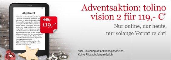 eReader Tolino Vision 2 für 119 bei Hugendubel.de