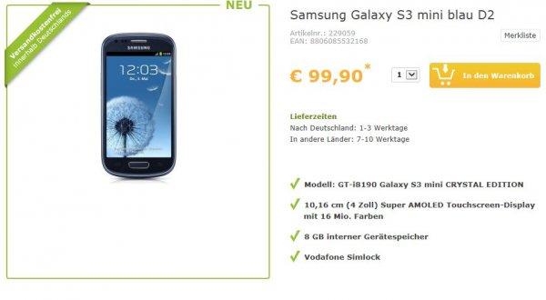 Samsung Galaxy S3 mini GT-i8190 nur 99,90€