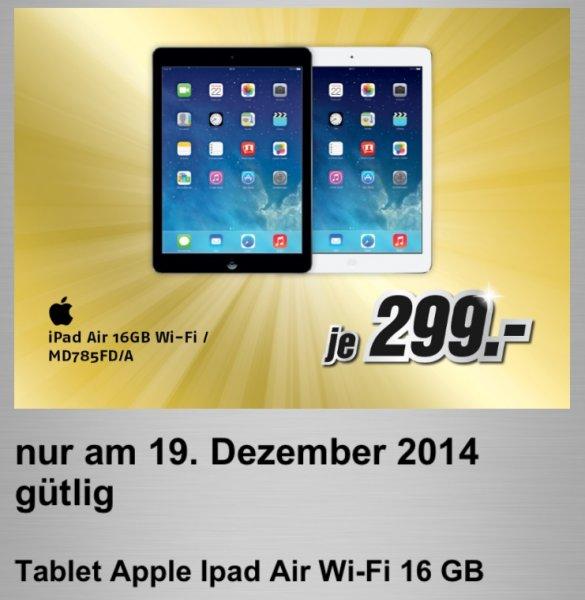 Apple iPad Air 16GB WiFi (1. Gen) 299 Euro MD785FD/A (lokal) MediMax Süd-Ost NUR 19.12.2014