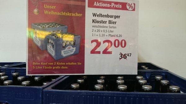 Weltenburger Kloster Bier 2 Kästen + 5l Fässchen für 22 Euro (GLOBUS Forchheim)