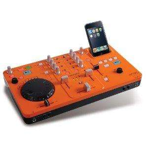 Scott DJX 10i DJ-Mischpult (2-Kanal-Mixer, Dock und Ladegerät, USB 2.0) für Apple iPod orange