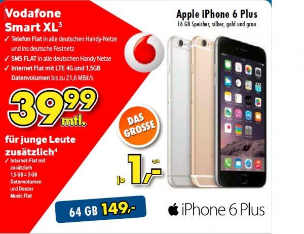 [Lokal Kamen & Menden] iPhone 6 Plus 16GB für 39,99 EUR/Monat + 1 EUR Zuzahlung VODAFONE Smart XL (64 GB 149 €)