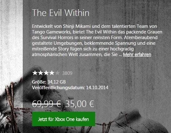 [XBL-GOLD-Mitglieder] The Evil Within (Download) Xbox One im MS Store für 35€