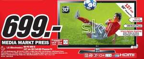 "Media Markt FFM-Borsigallee: LG 50PZ950S für 699€ (50"" 3D-Plasma, Full HD, DVB-T/C/S, LAN/Wifi-fähig)!"