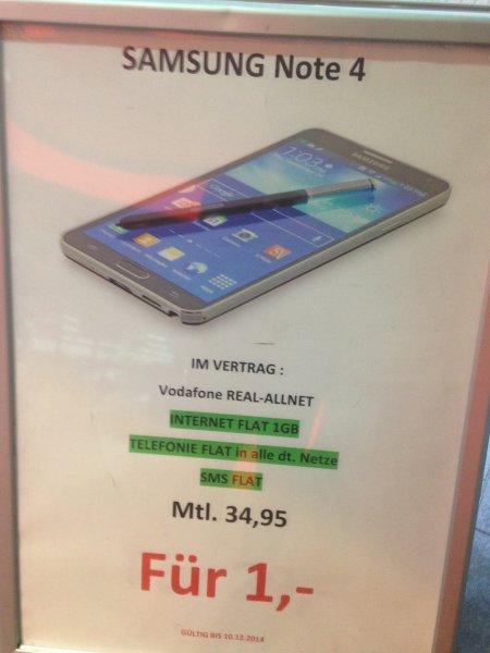 Lokal Saturn Herford: Samsung Note 4 für 1€ i.V.m. einer Allnet Flat im Telekom D1 Netz für effektiv 7,07€