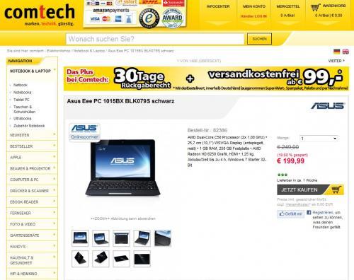 Asus Eee PC 1015BX für 199,99€