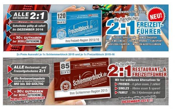 Bei Yatego Lastminute Geschenk 2er Set 1 Schlemmerblock 2015 + 1 Freizeitblock 2015-2016 Jeweils Freie Auswahl statt 59,80 nur 28,90 über 51 % gespart