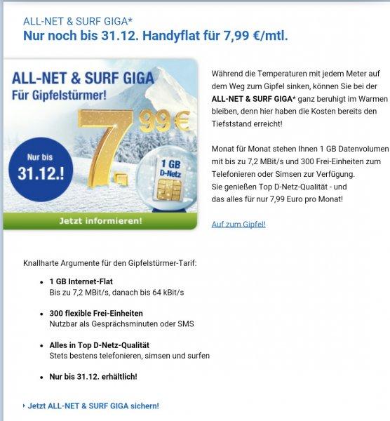 GMX Angebot Allnet & Surf Giga 7,99 mtl.