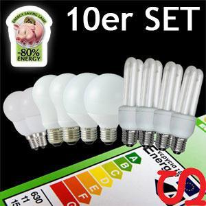 10er-SET Sparlampen Energiesparlampen 8x E27, 2x E14