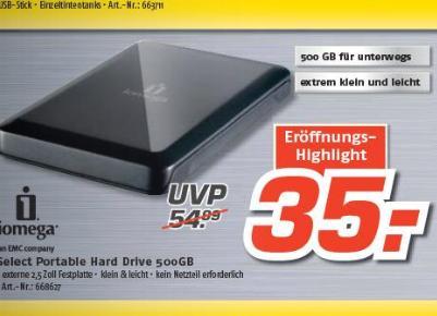 "[LOKAL DRESDEN] MediMax - 500GB 2,5"" Iomega Select 35€ und 1,5TB CnMemory 3,5"" für 49€"