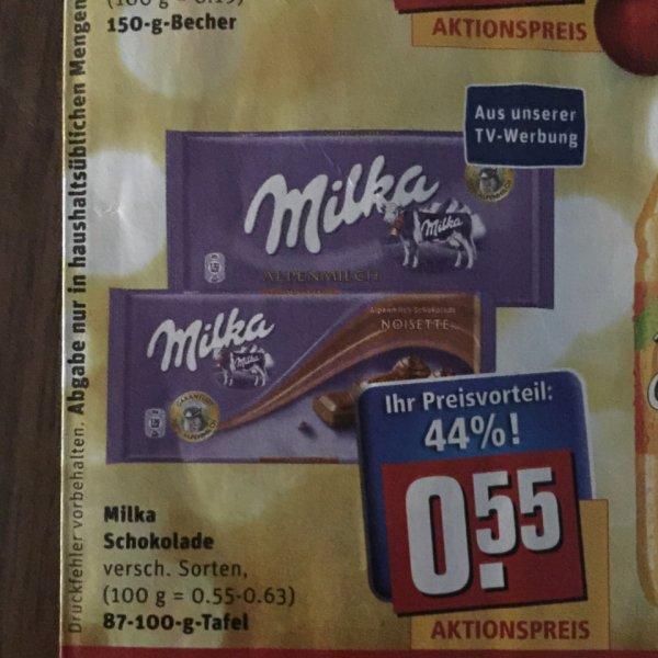 Milka Schokolade bei Rewe 44% für 0,55€ -- ab 22.12.14