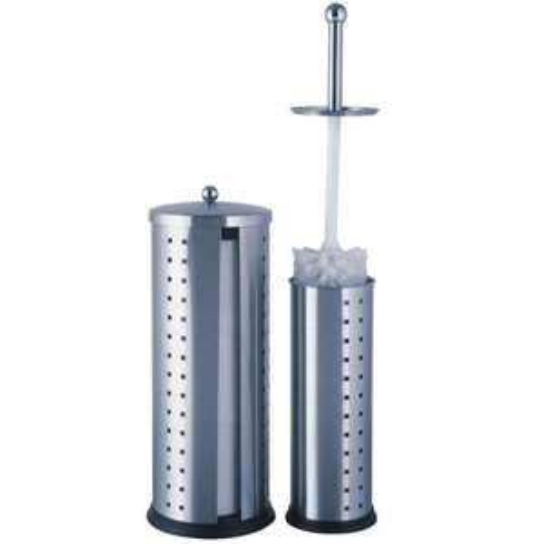 2-tlg. WC-Garnitur - Toilettenbürstenständer + Rollenhalter aus Edelstahl