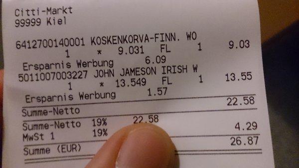 (LOKAL KIEL - Citti Markt) Koskenkorva finnischer Vodka 1L
