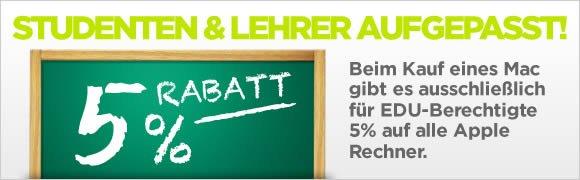 150€ oder 100€ Rabatt auf iMacs, Mac Pros?MacBook Pro Retina, MacBook Airs usw. und 5% Education Rabatt für Stundenten, Schüler und Lehrer