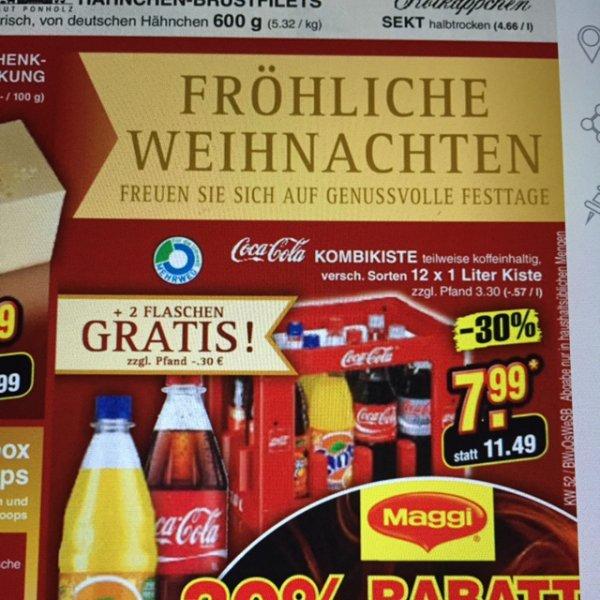 Netto (ohne Hund) Kiste Coca Cola plus 2 gratis Flaschen