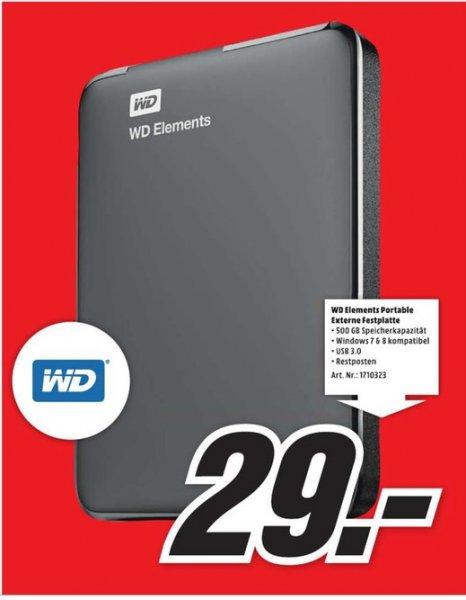 Western Digital Elements Portable 500GB für 29€ LOKAL @ Mediamarkt Mülheim an der Ruhr