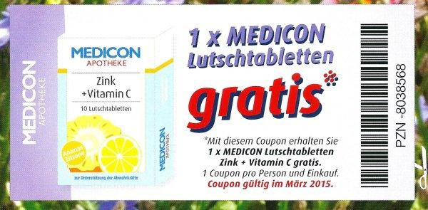 1 x Lutschtabletten Zink + C gratis bei MEDICON Apotheke [in Franken]