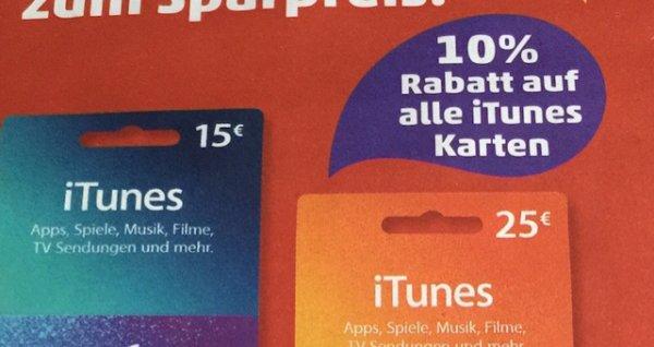 10% Rabatt auf ALLE ITunes-Karten bei REWE und Penny