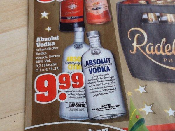 Absolut Vodka 0,7l Flasche 40% Lokal bei ( trinkgut )