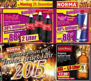 [NORMA bundesweit] 2l Coca Cola 0,88€ | 250ml Red Bull 0,88€ | 1,5l Captain Morgan 17,99 | 2l Schwip Schwap 0,65€