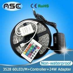 300LEDs Non-Waterproof LED Strip Light 5m/roll+24W Power Adapter,only RGB with 24Keys IR Remote Controller