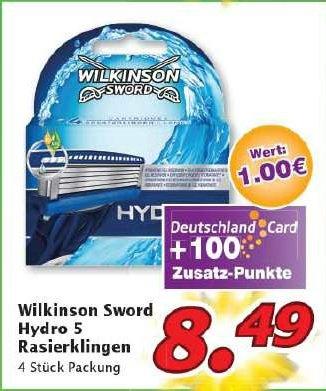 Wilkinson Sword Hydro 5 4er Klingen zum Bestpreis bei Marktkauf Nordbayern 1,34 €/Klinge(Coupies und Deutschlandcard)