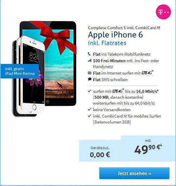 iPhone 6 16 GB + iPad Mini Retina 16 GB WiFi + 4G + Telekom Complete Comfort S inkl. CombiCard Data M